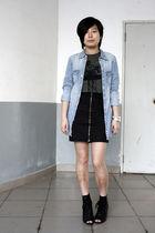 blue H&M shirt - green chapel t-shirt - black HKR collections skirt - black Kati