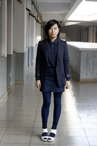 navy McQueen blazer - navy chapel shirt - navy Izzue skirt - navy chapel legging