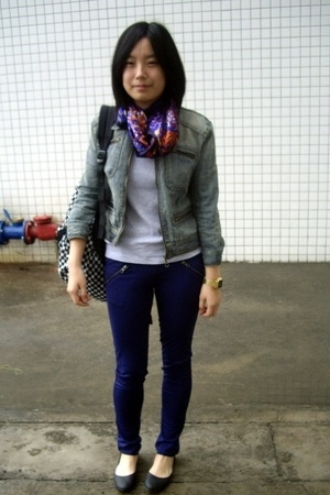 scarf - blues heroes denim jacket - Zara t-shirt - twopercent pants - Steve Madd