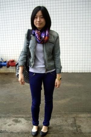 scarf - blues heroes denim jacket - Zara t-shirt - twopercent pants - Steve Madd