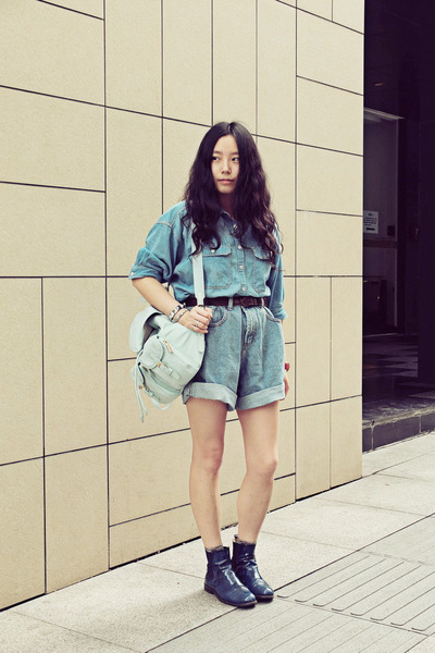 aquamarine CHOC boutique bag - navy CHOC boutique boots - blue Shuca shirt