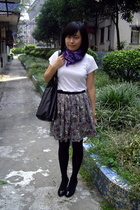 Zara t-shirt - H&M scarf - skirt - NEDNEDY shoes