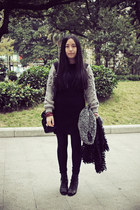 black lovehellopanda dress - black Zara leggings - black Sukiired bag