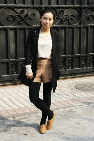 black cotton on leggings - black H&amp;M blazer - black rubi bag - tan tweed j2p sho