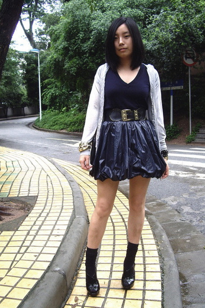 black Mango shoes - gray fringed  jacket - blue knitted Zara t-shirt