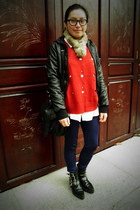 black puzzle boots - black leather H&M jacket - red THE 7 sweater - white oversi