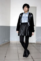 black Worthington cardigan - blue H&M shirt - black HKR collections skirt - blac