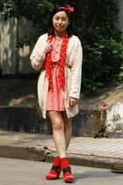 salmon dress - red polka dots H&M scarf - red polka dots H&M socks - cream belt