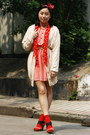 Salmon-dress-red-polka-dots-h-m-scarf-red-polka-dots-h-m-socks-cream-belt-