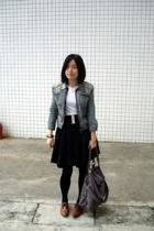 blue heroes denim jacket - Zara t-shirt - wish list skirt - wish list belt - TH