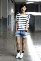 white H&M t-shirt - sky blue Uniqlo shorts - navy Uniqlo socks - white Converse