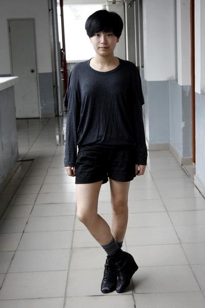 gray chapel t-shirt - black j-honey shorts - gray stockings - black Katie Judith