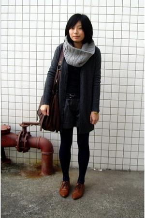 twopercent scarf - t-shirt - coat - shorts - NANING9 shoes -  purse
