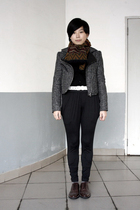 brown JUNG HWA TEXCO scarf - black pants - black giordano cardigan - gray jacket