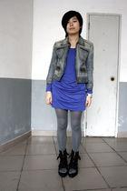 blue blues heros denim jacket - blue twopercent dress - gray H&M tights - black