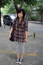 twopercent dress - tights - dizen de brand purse - Converse shoes