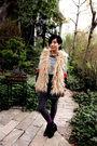 Beige-topshop-coat-black-h-m-scarf-beige-topshop-vest-gray-h-m-skirt-pur