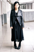 black leather jacket - black long skirt - black basic g2000 t-shirt - black Kati
