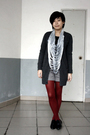 Black-g2000-t-shirt-gray-lisamina-cardigan-gray-zara-scarf-gray-kaco-short