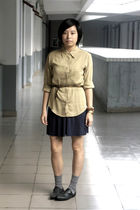 yellow River Island shirt - brown Mango belt - blue H&M dress - gray Uniqlo sock