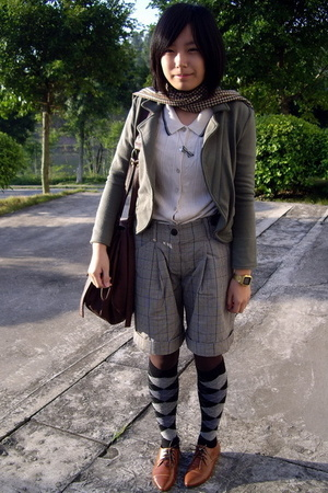 ozoc jacket - jacky scarf -  shorts - H&M necklace - tights - NANING9 shoes
