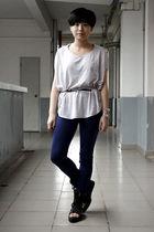 gray wish list t-shirt - black twopercent belt - blue twopercent pants - black s