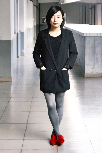 Black Chapel Dresses Black H M Blazers Heather Gray H M Tights