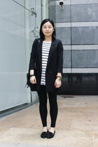 black cotton on leggings - black H&M blazer - black rubi bag - white striped H&M