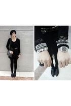 black chapel dress - black twopercent belt - brown Mango belt - black prezzo pur