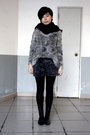 Black-scarf-gray-topshop-sweater-gray-shorts-black-leggings-black-shoes