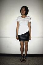 H&M t-shirt - bracelet - Bershka skirt - puzzle shoes