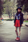 Red-shorts-ruby-red-hushpuppies-boots-navy-asos-hat-navy-mcqueen-blazer