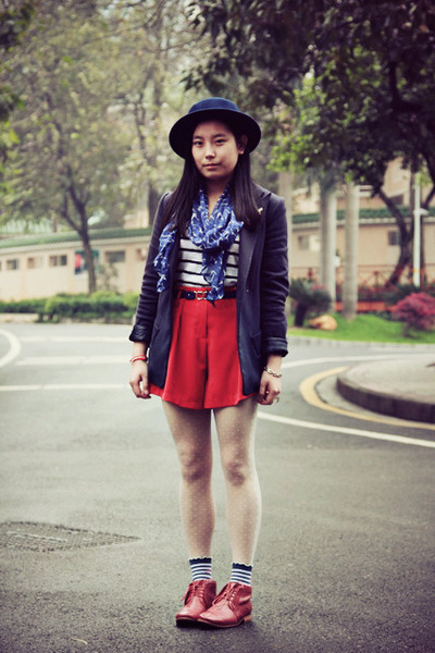 red shorts - ruby red Hushpuppies boots - navy asos hat - navy McQueen blazer
