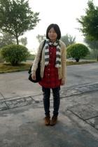 lisamina coat - scarf - shirt - pants - dizen de brand purse - shoes