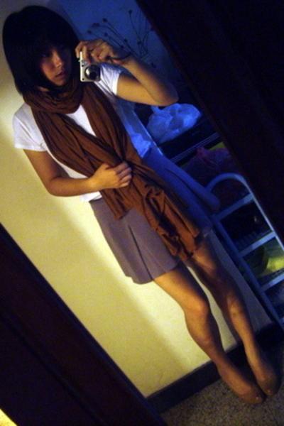 Zara t-shirt - H&M scarf - baleno attitude skirt - shoes