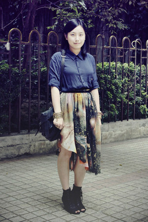 chapel shirt - rubi bag - Katie Judith wedges - skirt - zippers bracelet - cross