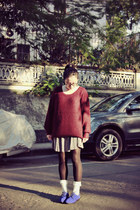 blue Anna Sui for Hushpuppies shoes - brick red sweater - white socks