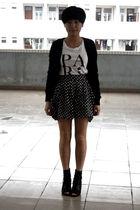 black giordano cardigan - white chapel t-shirt - black shorts - black Katie Judi