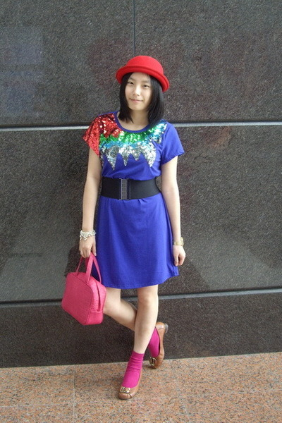 hat - dress - baleno attitude belt - CRABTREE & EVELYN - H&M socks - CnE shoes