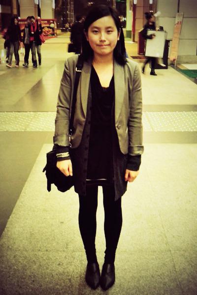 black shoes - heather gray twopercent homme blazer - black rubi bag - black whit