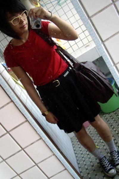 Zara t-shirt - skirt -  purse - Converse shoes