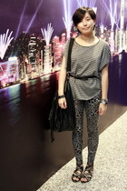 wish list t-shirt - belt - Folli Follie bracelet - Bershka leggings - ISO purse