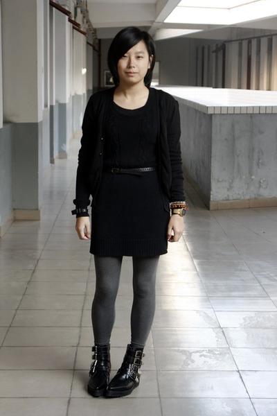 giordano cardigan - TH dress - belt - H&M bracelet - H&M leggings - puzzle shoes