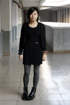 giordano cardigan - TH dress - belt - H&M bracelet - H&M leggings - puzzle shoes