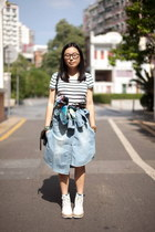 white striped H&M t-shirt - white puzzle boots