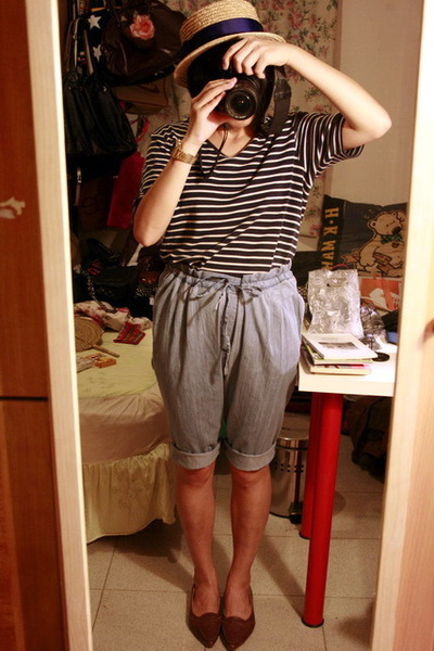 hat - vintage t-shirt - Mango shorts - shoes