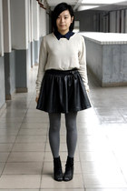navy chapel shirt - eggshell t-shirt - black belt - black HKR collections skirt