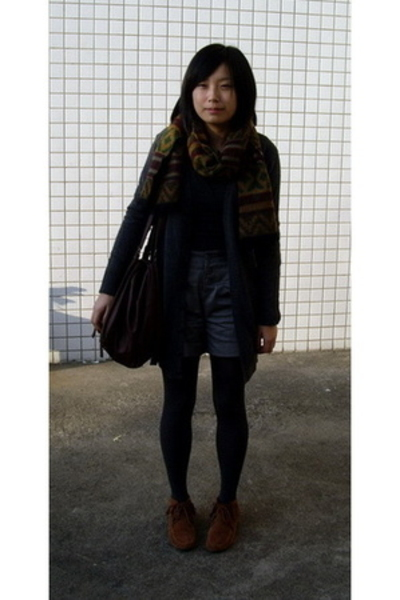 t-shirt - coat - KACO shorts - WOOL TOUCH scarf -  purse - shoes