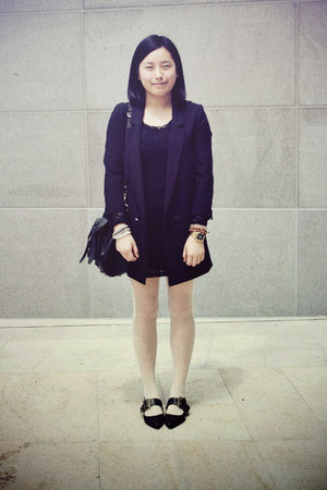 black Riiika shoes - black lace chapel dress - black H&amp;M blazer - white tights -