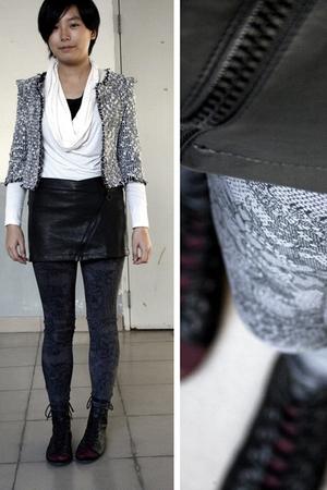 black jacket - white twopercent blouse - black chapel skirt - silver chapel legg